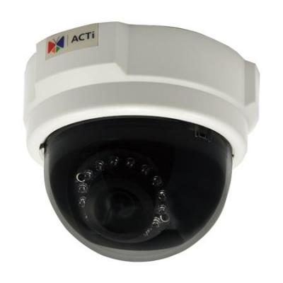 Acti beveiligingscamera: 3MP Indoor Dome with D/N, IR, Basic WDR, Fixed lens, 1080p, 1920 x 1080, 69dB - Zwart, Wit