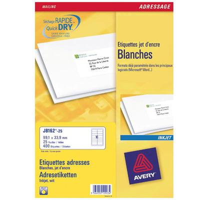 Avery Adresetiketten, Inkjet, Wit, 400 pcs. Adreslabel