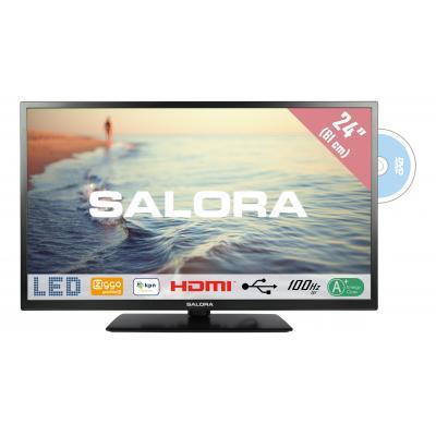 """Salora : 5000 series Een compacte 24"""" (61CM) HD LED televisie met ingebouwde DVD speler - Zwart"""