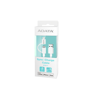 Adata USB kabel: 1m, USB 2.0-A/Lightning+microUSB 2.0 - Wit