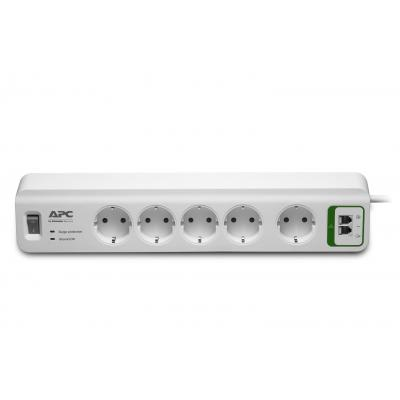 Apc surge protector: Overspanningsbeveiliger 2300W 5x stopcontact + Telefoon - Wit