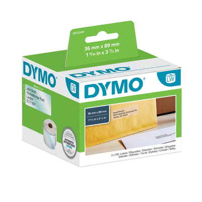DYMO LW - Grote adreslabels - 36 x 89 mm - S0722410 Etiket - Transparant
