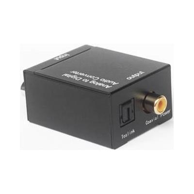 Microconnect audio converter: Analog-to-Digital, 1 x Audio L/R In, 1 x Coax Out, Toslink, 2-Channel, LPCM, Black - Zwart