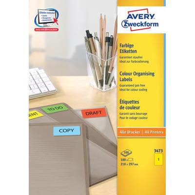 Avery 210 x 297 mm, 100 pcs, A4, geel Etiket