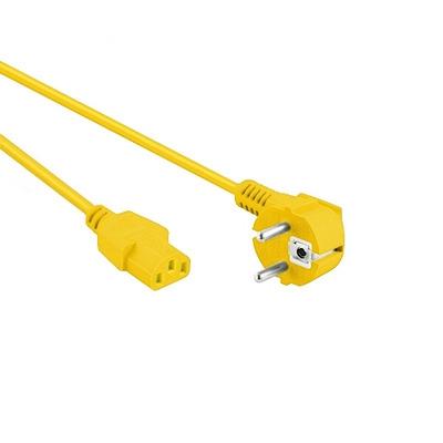 EECONN Netsnoer, Schuko Haaks (CEE 7/7) - C13, Kabel: H05VV-F 3x 1.00mm², Kleur: Geel, Lengte: 3 meter .....