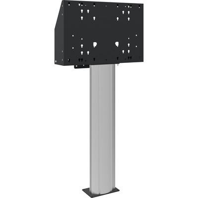 SmartMetals Vloerkolom 120cm hart flat panel, voor touch screen max. 120 kg TV standaard - Aluminium, Zwart
