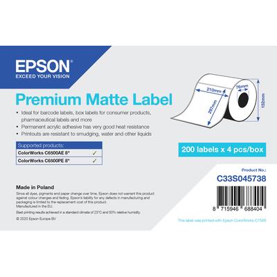 Epson Premium Matte Label - Die Cut Roll: 210mm x 297mm, 200 labels Etiket