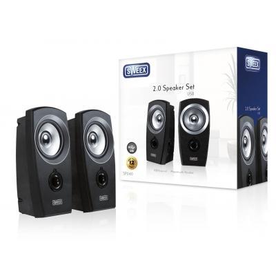 Sweex Speaker: 2.0 Speaker Set USB - Zwart