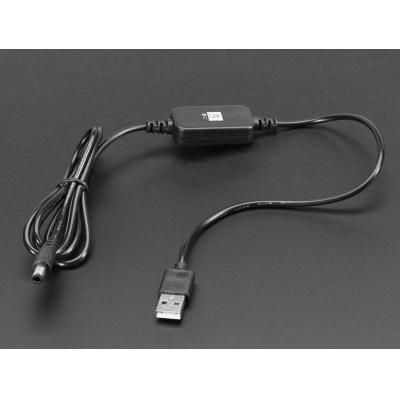 Adafruit USB kabel: USB - 2.1mm DC 12 V, 1.2 m, 34.6 g - Zwart