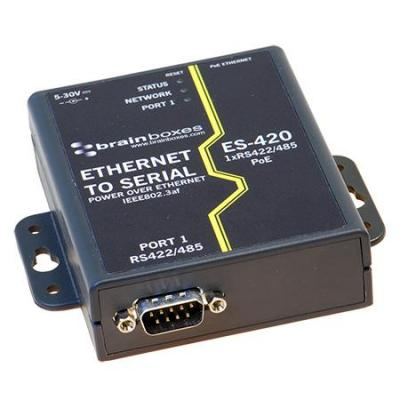 Brainboxes 1 Port RS422/485 PoE Ethernet to Serial Adapter Seriele server - Zwart, Wit