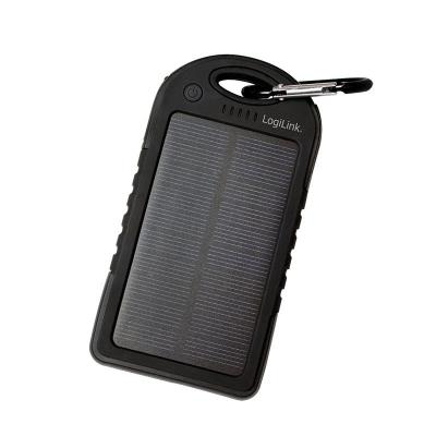 Logilink powerbank: Universal Solar Charger, 5000 mAh, Black - Zwart