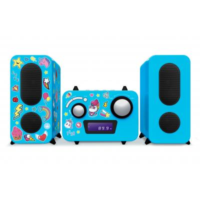 Bigben interactive reciever: Big Ben, HiFi Micro System CD / Radio (Blauw) + Unicorn Stickers