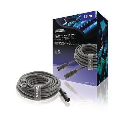 Sweex XLR Digital Cable, XLR 5-Pin Male - XLR 5-Pin Female, 15.0 m, Dark Grey - Zwart
