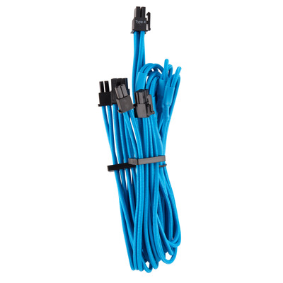 Corsair Premium Individually Sleeved PCIe Cables (Dual Connector) Type 4 Gen 4, Blue - Blauw