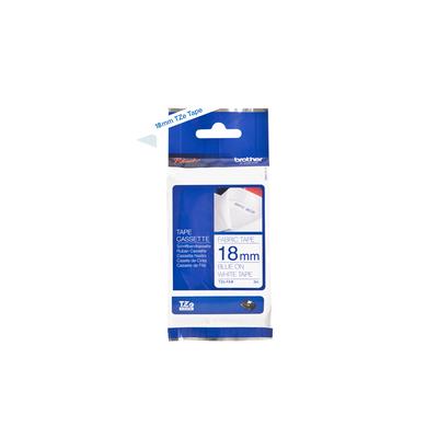 Brother 18mm blauw op witte textieltape (3 meter) Labelprinter tape - Zwart
