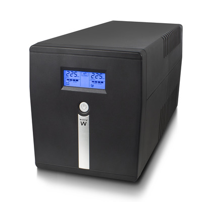 Ewent 1000VA, 600W, LCD, AVR, RS232, USB UPS - Zwart