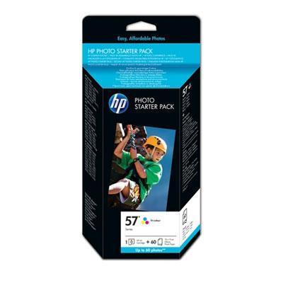 Hp printerkit: 57 serie foto starterpack, -60 vel/10 x 15 cm plus tab - Cyaan, Magenta, Geel