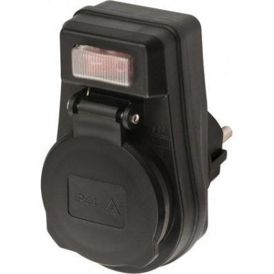 Brennenstuhl stekker-adapter: Adapter EDS 10 IP44 with ON/OFF switch for outdoor use - Zwart