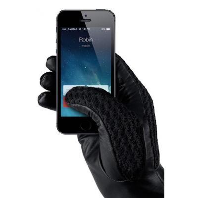 Mujjo : Leather Crochet Touchscreen Gloves, Male, Size 8 - Zwart