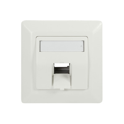 LogiLink Face plate for 1 keystone jack, 45° outlet, pure white - Wit