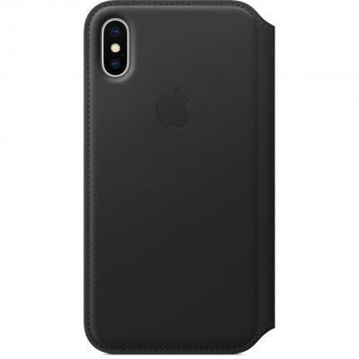Apple mobile phone case: Leren Folio-hoesje voor iPhone X - Zwart
