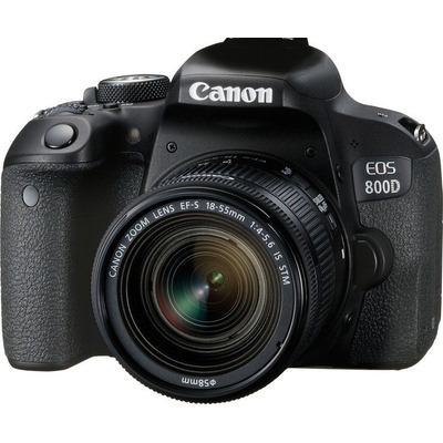Canon digitale camera: EOS 800D + EF-S 18-55mm 4.0-5.6 IS STM - Zwart