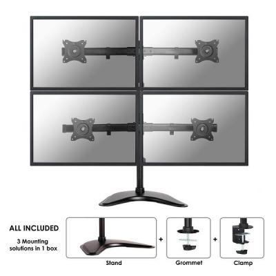 """Newstar monitorarm: De NM-D335D4BLACK is een bureausteun voor 4 flat screens t/m 27"""" (69 cm) - Zwart"""
