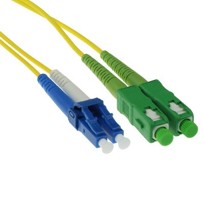 ACT 3m LSZH Singlemode 9/125 OS2 glasvezel patchkabel duplexmet SC/APC en LC/PC connectoren Fiber optic kabel - Geel