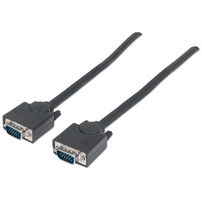 Manhattan SVGA Monitor Cable, HD15, Male to Male, 4.5m, Shielded, Black, Polybag VGA kabel  - Zwart