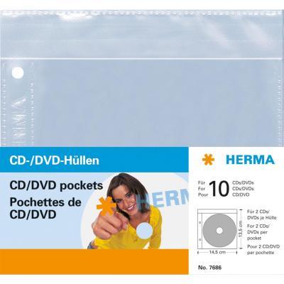 Herma : CD/DVD pockets, 145x135 mm 5 pockets - Transparant