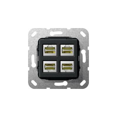GIRA Basiselement Modular Jack RJ45 Cat.6 10 GB Ethernet viervoudig Snijklemtechniek Wandcontactdoos - Zwart