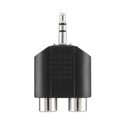 Belkin kabel adapter: Portable Audio Adapter 3.5mm/2xRCA M/F - Zwart