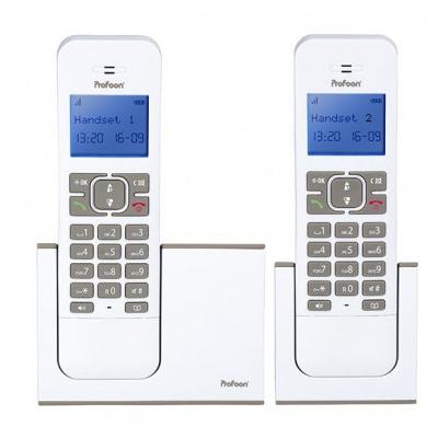 Profoon DECT TwinSet Dect telefoon - Grijs, Wit