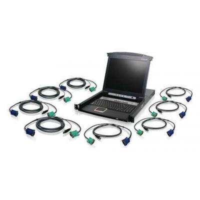 Iogear 8-Port LCD Combo KVM Switch with USB KVM Cables Rack console - Zwart, Grijs