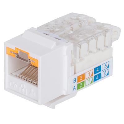 Intellinet Keystone Jack, Cat6A, UTP, Toolless, Locking Function, White - Wit
