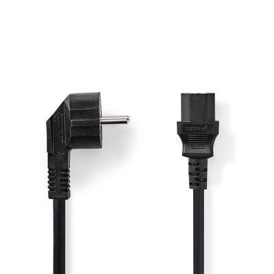 Nedis C13/Schuko, 3x 1.5mm², Ø7.9mm, PVC, 2m Electriciteitssnoer - Zwart