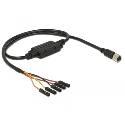 Navilock Connection Cable, 1 x M8 female serial waterproof, 1 x 5 pin pin header, pitch 2.54 mm, TTL (5 V), 1.2 .....