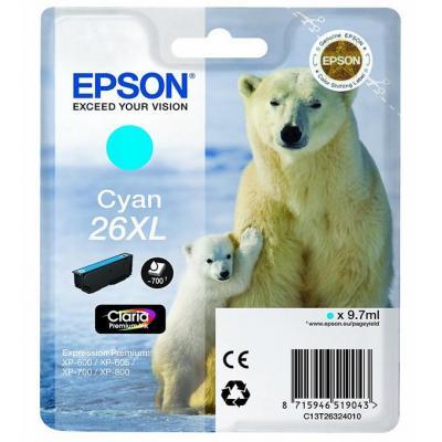 Epson inktcartridge: 26XL inktcartridge cyaan high capacity 9.7ml 700 paginas 1-pack blister zonder alarm
