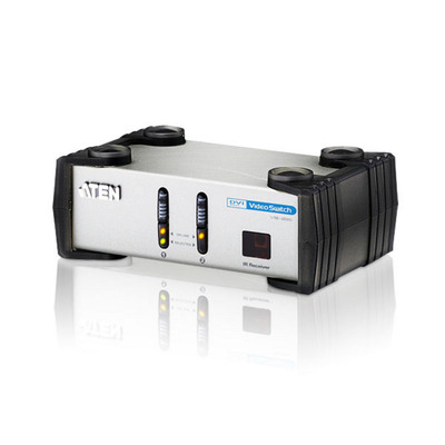 Aten 2 Port DVI / audio enabled/ 1920 x 1200 Fully compliant with DVI-Dand DVI-A Video switch - Zwart,Zilver