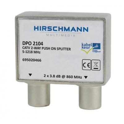 Hirschmann netwerk splitter: 2x IEC , 3.8 dB, 5-1218 MHz, 75 Ohm, 38 x 28 x 16 mm - Grijs