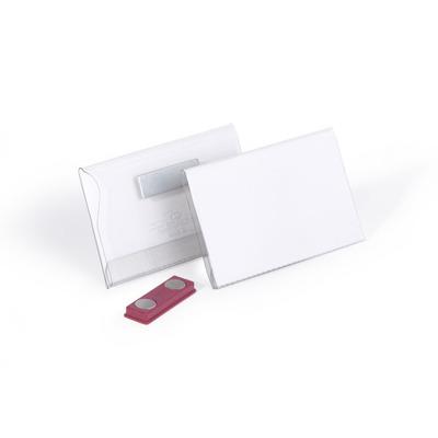 Durable badge: Congresspeld met magneet, 25 stuks/doos - Transparant, Wit