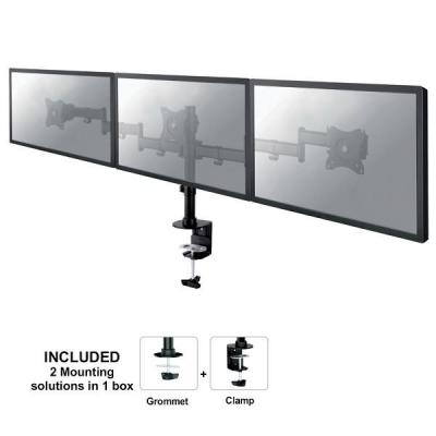 "Newstar monitorarm: Tilt/Turn/Rotate Triple Desk Mount (clamp) for three 10-27"" Monitor Screens, Height Adjustable - ....."
