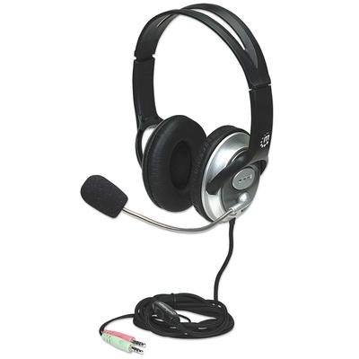 Manhattan Classic Stereo, flexible microphone boom, padded cloth ear cushions, two 3.5mm plugs, Silver/Black, .....