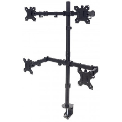 """Manhattan Monitor Desk Mount (stand, clamp), 4 screens, 10-27"""", Vesa 75x75 to 100x100mm, 1 pivot, Height up to ....."""
