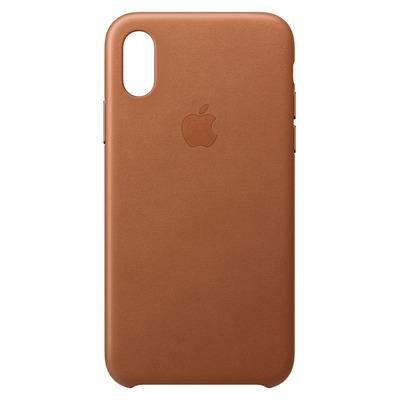 Apple mobile phone case: Leren hoesje voor iPhone XS - Zadelbruin