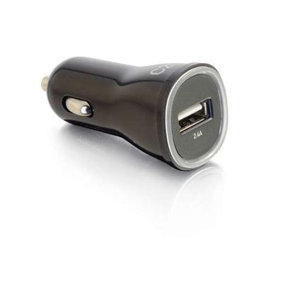 C2G 1-Poort USB autolader, 2,4A UIvoer Oplader - Zwart