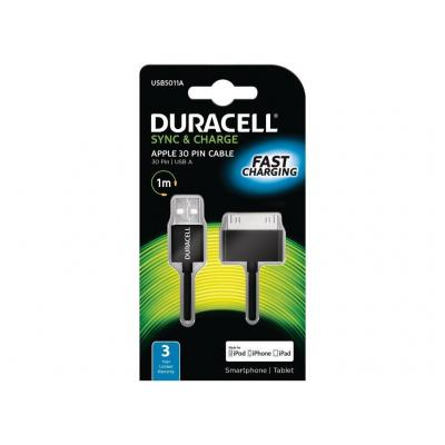 Duracell kabel: 1 m Sync/Charge Cable Apple 30P - Zwart