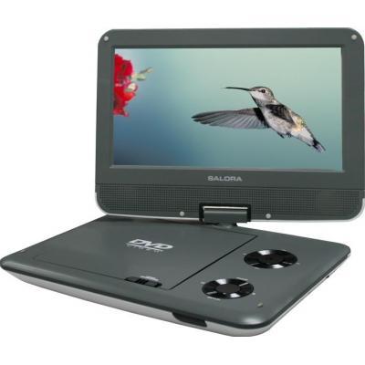 "Salora portable DVD player: Een 9"" (23CM) portable DVD speler met USB/SD en auto montage set - Grijs"