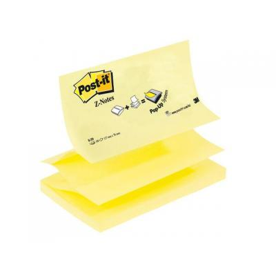 Post-it zelfklevend notitiepapier: Notitieblok Z-note 127x76mm geel/pak 12