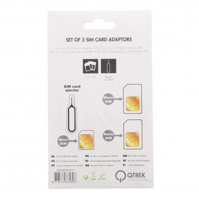 Qtrek SIM/flash memory card adapter: Universal SIM Adapters with Sticker for Nano and Micro SIM black - Zwart